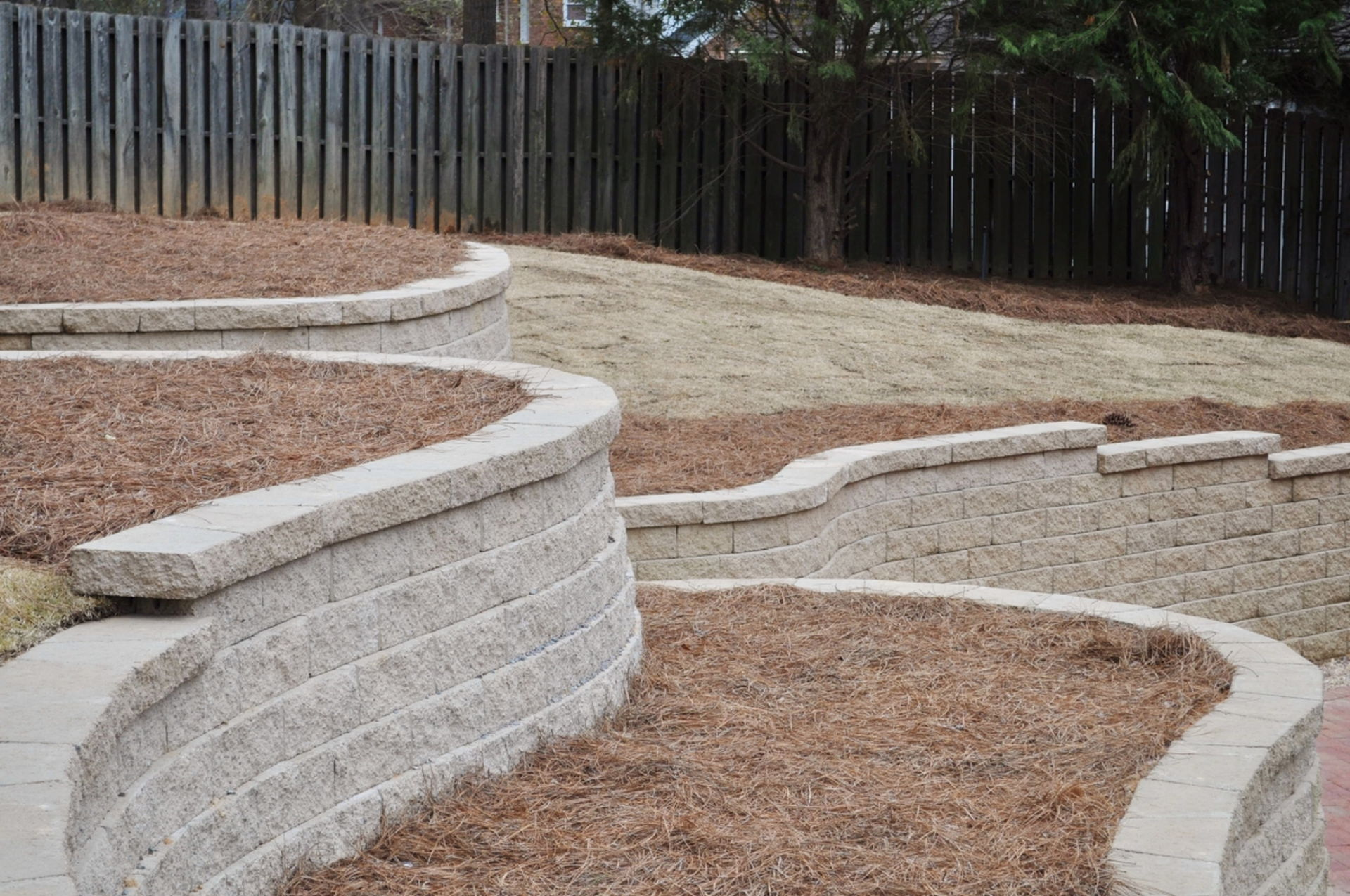 Augusta, GA commercial landscape design and retaining wall installations.