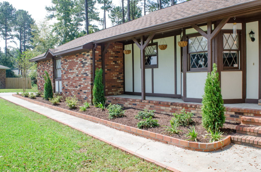 Evans, GA Front Yard Landscape With Bed & Porch Design Features 3