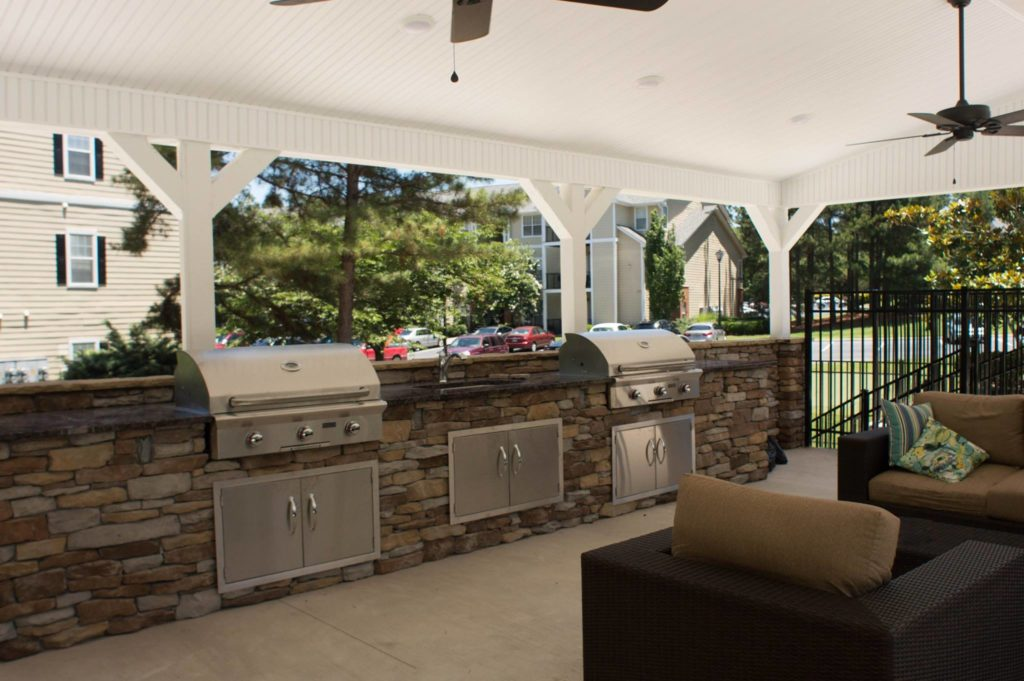 Evans, GA Covered Outdoor Kitchen and Fire Pit Project 1