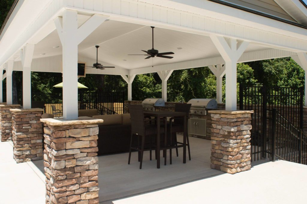 Evans, GA Covered Outdoor Kitchen and Fire Pit Project 5
